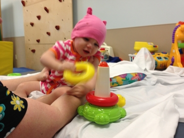 Charlotte playing!  Breastmilk contains naturally occurring and easily absorbed omega-3s, one of the building blocks of the brain.